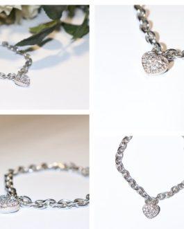 Rhodium bracelet with diamante heart