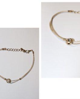 Light tan silk bracelet-one clear stone