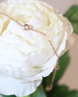 Single cubic on rose gold wrapped short Chain