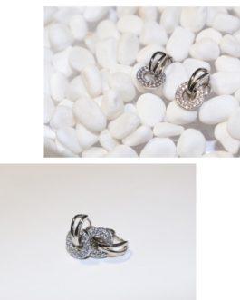 Double huggie earings-double clip silver & diamante