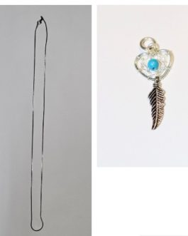 Silver feather charm with snake chain